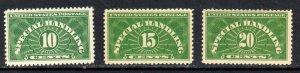Qe1, Qe2, Qe3 Special Handling 10, 15, 20 centers Mint NH⭐⭐⭐⭐⭐