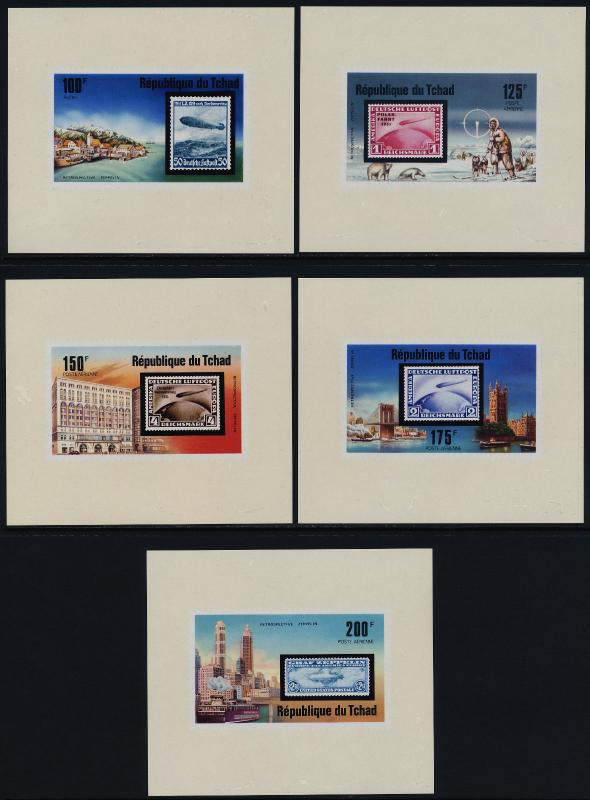Chad 327,C206-9 Imperf s/s MNH Aircraft, Zeppelin, Dogs, Stamp on Stamp