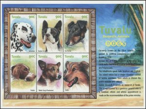 Tuvalu 2000 Sc 838 Dogs Corgi Dalmatian Terrier Collie Pointer CV $5.65