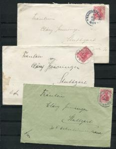 Germany 1905/1906 3 Covers To Stuttgard