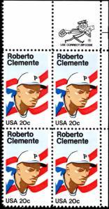 US Scott # 2097 20c Roberto Clemente MNH Zip & Plate Block of 4 CV: $17.51