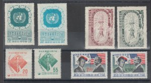 Korea Sc 221/545 MNH. 1955-1966 issues, 4 complete sets, gum bends VF Appearing