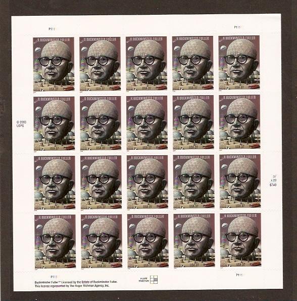 #3870 R Buckminster Fuller Full Mint Sheet NH