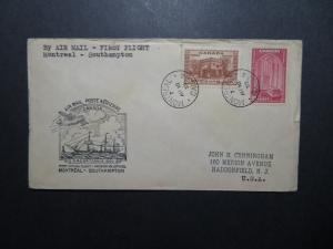 Canada 1939 Montreal to Southampton First Flight Cover / Top Creasing - Z11245