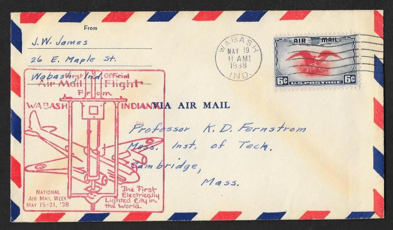 UNITED STATES First Flight Cover National Air Mail Week 1938 Wabash to Cambridge