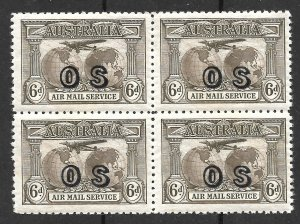 Doyle's_Stamps: MNH 1931 XF-S Australian Airmail Official Block of Stamps #CO1**