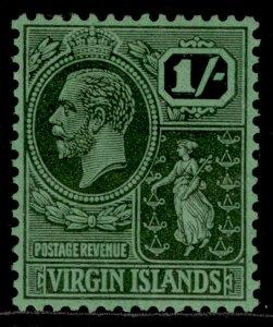 BRITISH VIRGIN ISLANDS GV SG99, 1s black/emerald, M MINT.
