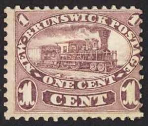 Canada New Brunswick Sc# 6 MH 1860 1¢ red lilac Locomotive