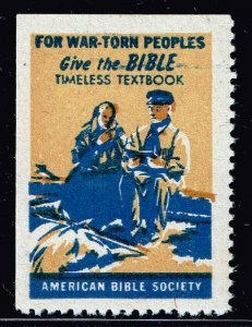 US STAMP CHRISTIAN LABEL STAMP GIVE THE BIBLE