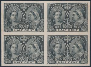 CANADA #50P4 PLATE PROOF ON CARD BLOCK OF 4 SUPERB GEM BS6505