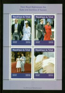 CHAD  2019  DUKE AND DUCHESS OF SUSSEX  SHEET OF FOUR  MINT NH