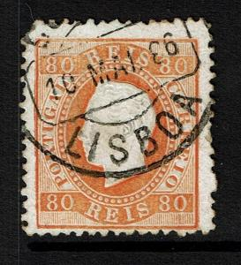 Portugal SC# 44e, Used, Top Center Shallow Thin, see notes - Lot 073017