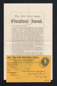 NEW YORK: Fredonia 1870's NY STATE EDUCATION JOURNAL w/Circular