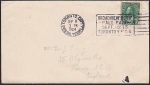 CANADA 1924 cover : slogan BROADVIEW BOYS' FALL FAIR, Toronto...............7457