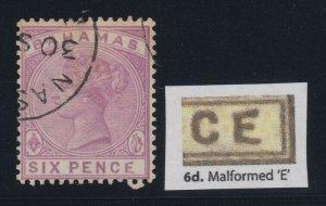 Bahamas, SG 54a, used Malformed E variety