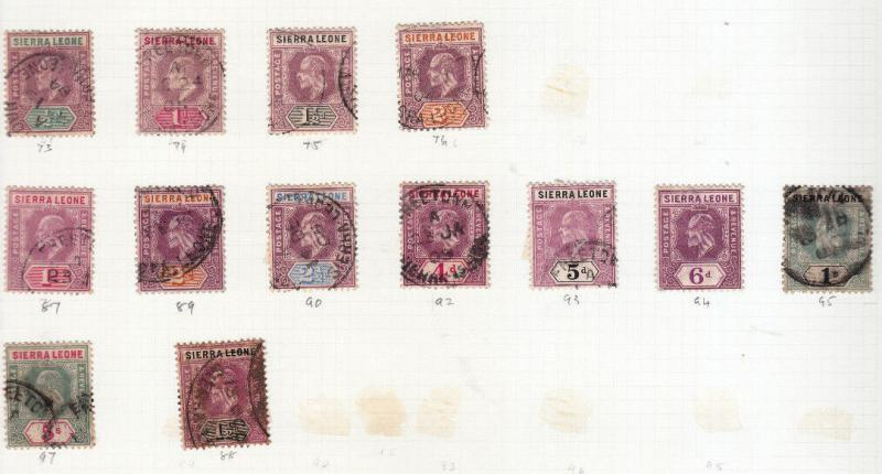 SIERRA LEONE EDWARD V11TH VALUES/SETS USED SG 73 TO SG 97.  5/- value
