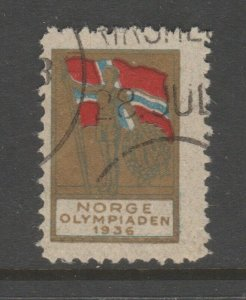 Norway Olympic Fund raiser stamp Cinderella revenue fiscal Stamp 4-16