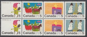 Canada - #519-521 & 523  5c Christmas Pairs With Variety #523ii - MNH