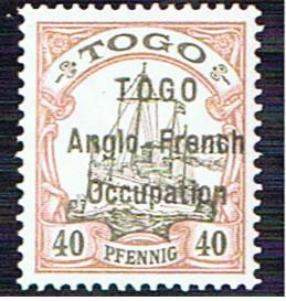 TOGO ANGLO FRENCH OCCUPATION 40pf SG H7 WITH CERT