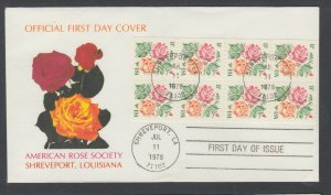 US Pl 1737a-B FDC. 1978 15c Rose booklet pane of 8, American Rose Society FIRST