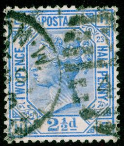 SG157, 2½d blue PLATE 23, USED. Cat £32.
