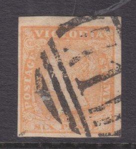 VICTORIA, 1854 Woodblock, imperf., 6d. Dull Orange, used.
