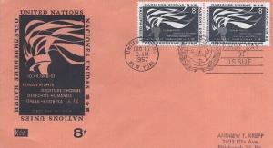 UN #58 8c HUMAN RIGHTS 1957 - Kolor Kover