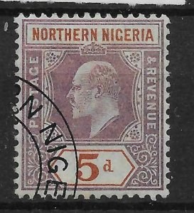 NORTHERN NIGERIA SG24 1905 5d DULL PURPLE & CHESTNUT USED
