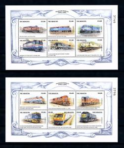 [62227] Nicaragua 1999 Railway Train Eisenbahn Chemin De Fer 2 Sheets MNH