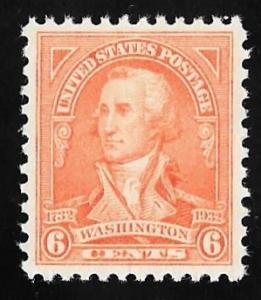 711 6 cent Washington Stamp M OG NH EGRADED VF 82