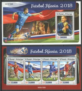 ST1442 2016 S. TOME & PRINCIPE SPORT FOOTBALL WORLD CUP RUSSIA 2018 1KB+1BL MNH