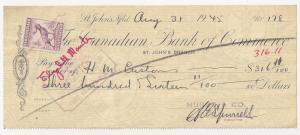 Newfoundland: #191 5c Caribou Fiscal Use on 1945 check Nfld