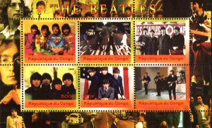 Congo 2009 The Beatles Singers Music 6v Mint Souvenir Sheet S/S. (#26)