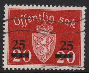 Stamp Norway Official Sc O057 1949 Dienst Coat Arms Used