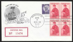 UNITED STATES FDC 15¢ Certified Mail BLOCK of 4 1955 ArtCraft