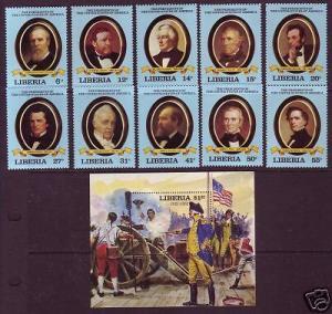 Liberia Sc 912-22 MNH. 1981 US Presidents & S/S, VF