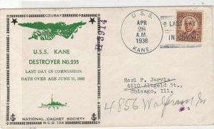 United States 1938 U.S.S.Kane Destroyer No.235 Navy Ships Stamps Cover refR18488