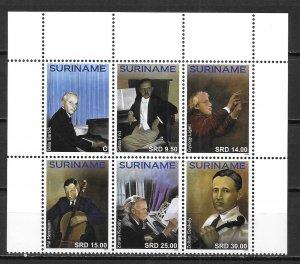 Surinam 1558 Composers block MNH