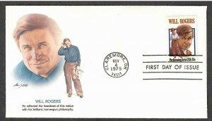 US # 1801 Will Rogers Fleetwood FDC - I Combine S/H