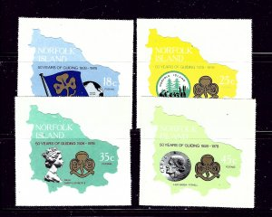 Norfolk Is 225-28 MNH 1978 Girl Guides self-adhesives