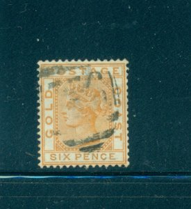 Gold Coast - Sc# 8. 1876 6p Victoria. Used. $28.00.