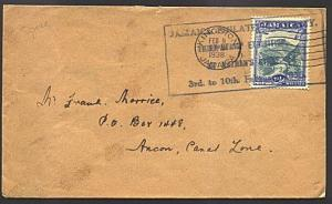 JAMAICA 1938 cover large STAMP EXHIBITION commem cancel in blue............93332