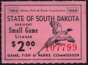 South Dakota Small Game License Stamp (1960) Used