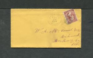 Postal History - Jackson MI 1885 Black Circular Grid Cover 2c Washington B0720