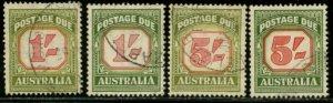 AUSTRALIA Sc#J81, J83 1953-54 1sh & 5sh Wmkd PDs yel grn & grn shades each Used