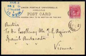 Gibraltar 1899 UPU picture Potcard (Europa Point) to Aust...