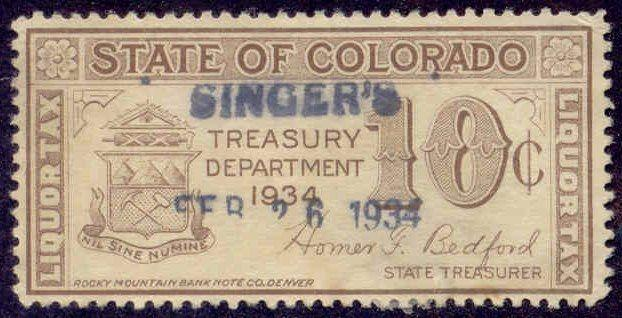 Colorado State Revenue Stamp 10c Liquor Tax # WL5