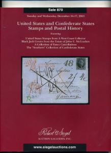 Siegel Sale US & Confederate States & Postal History