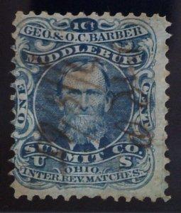 Scott #RO16a - Blue - Old Paper - Geo. & O. C. Barber
