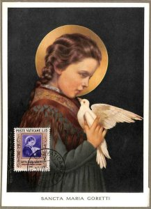 90087 -  VATICAN - MAXIMUM CARD - SAINT Mary GORETTI  Religion DOVES Birds 1953